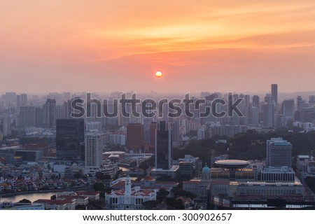 View of Singapore in the evening at sunset. - stock photo