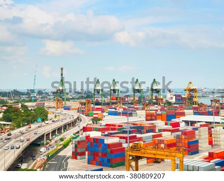 View of Singapore shipping port with many containers - stock photo