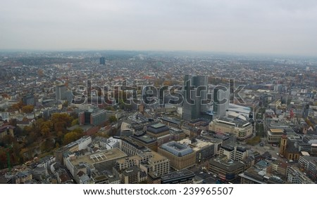 view of skyline of frankfurt taken from top of the main tower. - stock photo