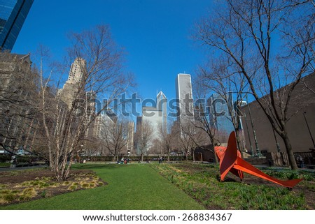 View of skyscrapers from Millennium Park in Chicago - stock photo