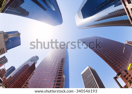 View of skyscrapers on sky in downtown, LA, USA - stock photo