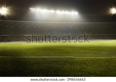 View of soccer field - stock photo