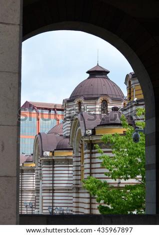 View of Sofia Public Bathhouse Taken from Presidential Area - stock photo