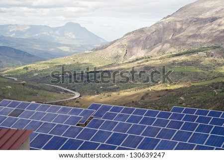 View of solar panels in the Madonie mountains. Sicily - stock photo