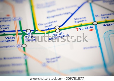 View of South Kensington station on a London subway map. - stock photo