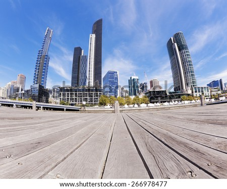 View of Southbank area in Melbourne CBD in the daytime - stock photo