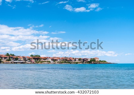 view of Sozopol town - seaside resort on Black Sea coast in Bulgaria - stock photo