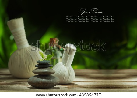 view of spa theme objects on color back. Banner, extra space for your text. - stock photo