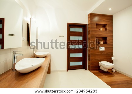 View of spacious bathroom in new house - stock photo