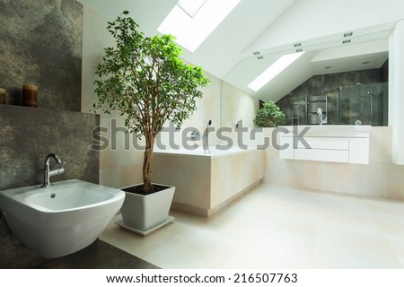 View of spacious bright modern house bathroom - stock photo