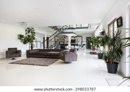 View of spacious room interior in luxury mansion - stock photo