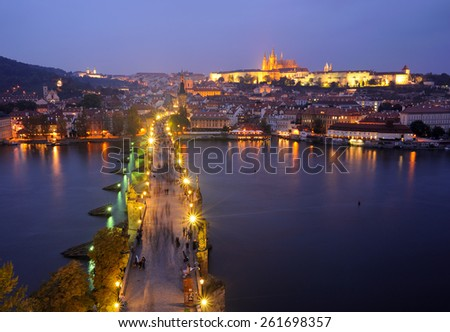 view of spires of the old town from charles bridge - stock photo