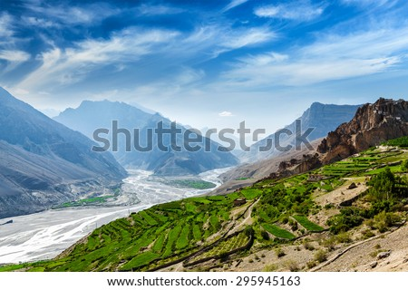 View of Spiti valley and Spiti river in Himalayas. Spiti valley, Himachal Pradesh, India - stock photo