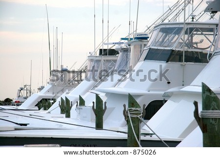 View of Sportfishing boats at Marina - stock photo