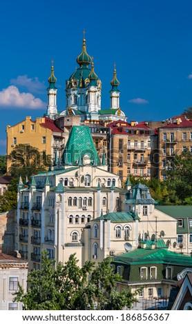View of St Andrew's Church - Kyiv, Ukraine - stock photo