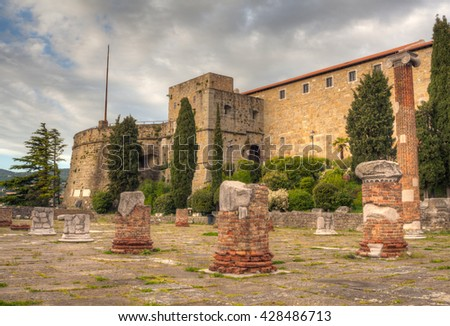 View of St. Giusto Castle in Trieste, Italy - stock photo