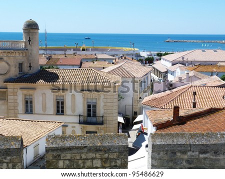 View of St. Maries de la Mer from the roof of the church of Notre Dame de la Mer F - stock photo
