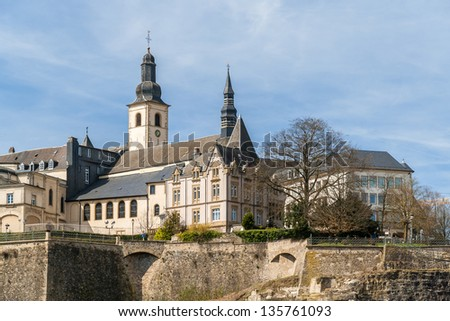 View of St Michael's Church in Luxembourg city - stock photo