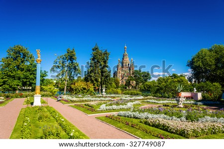 View of St. Peter and Paul Cathedral in Saint Petersburg  - stock photo