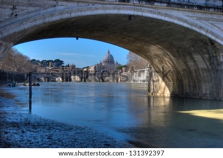 View of St Peter Basilica from Tiber, Rome, Italy B&W - stock photo