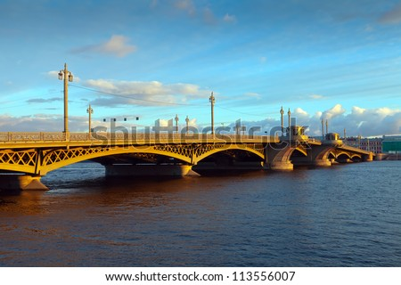 View of St. Petersburg.  Blagoveshchensky (Annunciation) Bridge in morning - stock photo
