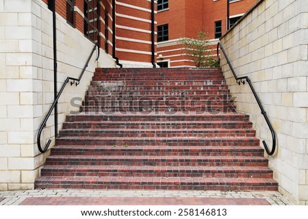View of Steps in an Inner City Walkway - stock photo