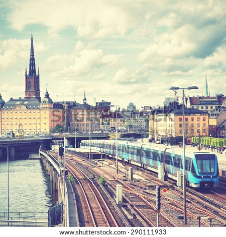 View of Stockholm, Sweden. Retro style filtred image - stock photo
