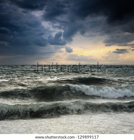 View of storm seascape in the Almeria coast, Spain - stock photo