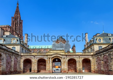 View of Strasbourg cathedral form Rohan Palace. France. Europe.    - stock photo