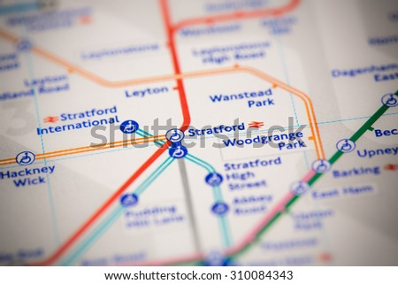 View of Stratford station on a London subway map. - stock photo