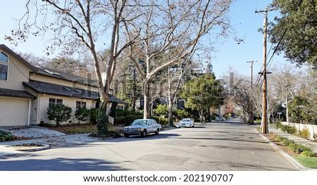 View of street in Palo Alto, Silicon Valley, California. - stock photo