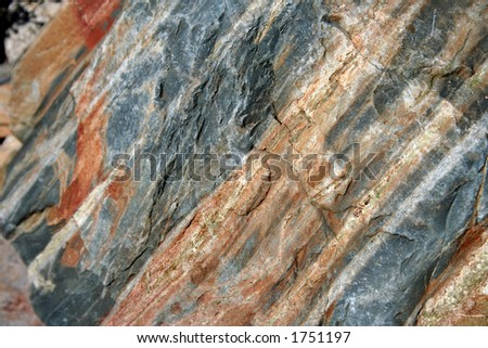 view of striated rock - stock photo