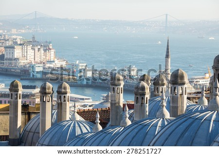 View of Suleymaniye mosque on the Galata Bridge and the Bosphorus, Istanbul, Turkey. Focus on the foreground - stock photo