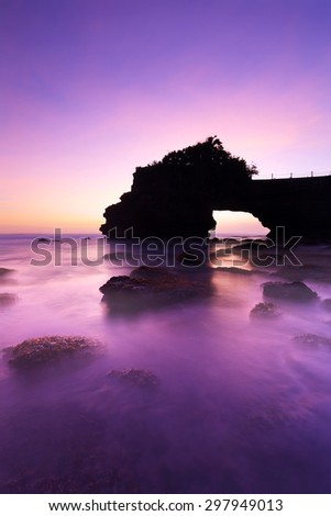 View of Sunset at Tanah Lot temple with beach Bali, Indonesia - stock photo