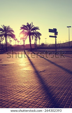View of sunset in Barcelona.Vintage style photo. - stock photo