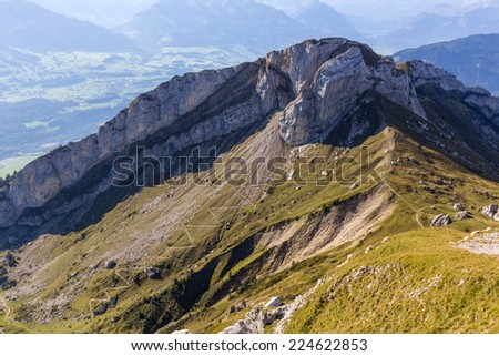 View of Swiss Alps from Mt. Pilatus in Lucerne, Switzerland - stock photo