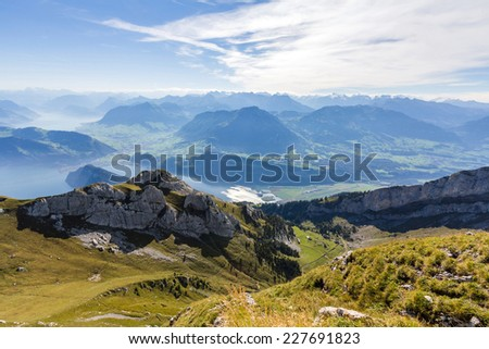 View of Swiss Alps from Mt. Pilatus in Lucerne, Switzerland - stock photo