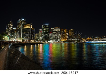 View of Sydney Central Business District at night. - stock photo