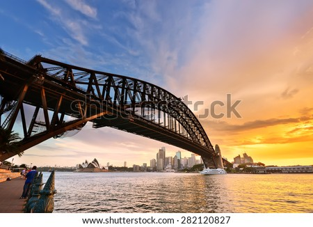 View of Sydney Harbor at dusk - stock photo