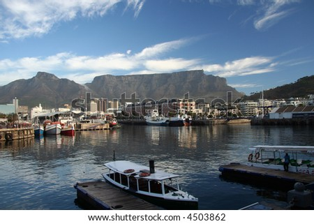 View of Table Mountain from the Victoria and Albert Waterfront - Cape Town, South Africa - stock photo
