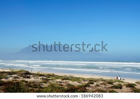 View of Table mountain in South Africa from the beach Table view - stock photo