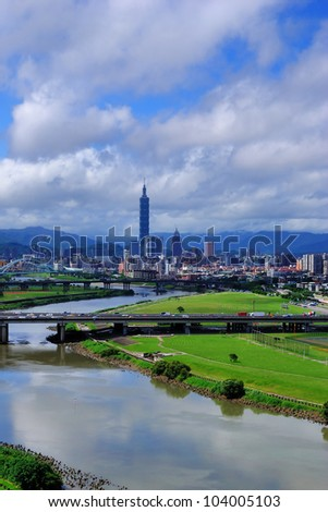 View of Taipei with river - stock photo
