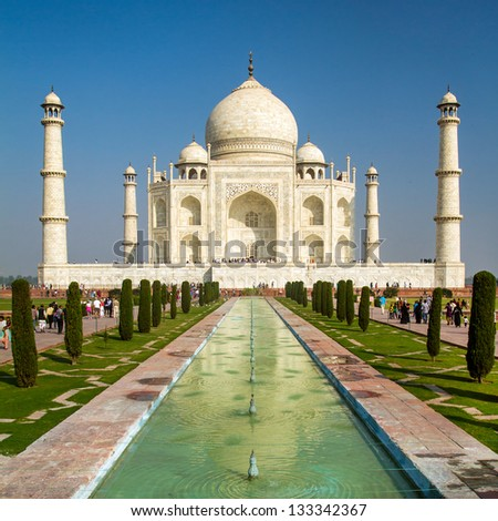 View of Taj Mahal, Agra, Uttar Pradesh, India - stock photo