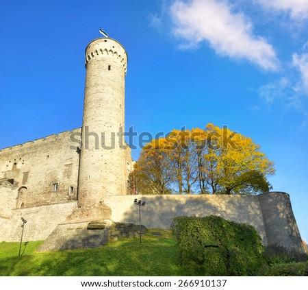 View of Tallinn tower Tall Germann (Pikk Hermann) in old Tallinn, Estonia - stock photo