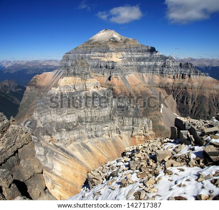 View of Temple Mountain and Mount Pinnacle from Mount Eiffel Summit Lake Louise, Banff National Park, Alberta, Canada - stock photo