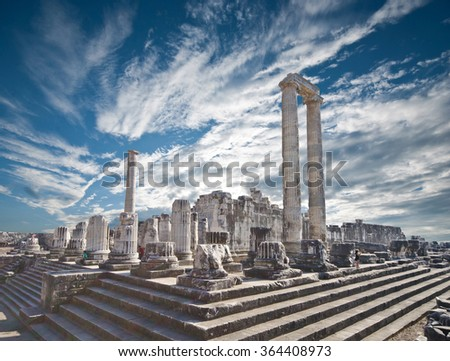 view of Temple of Apollo in antique city of Didyma  - stock photo