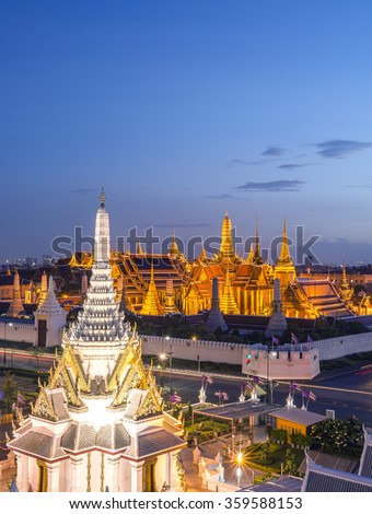 View of Temple of the Emerald Buddha in Bangkok, Thailand. Wat Phra Kaew is one of the most popular tourists destination in Thailand.