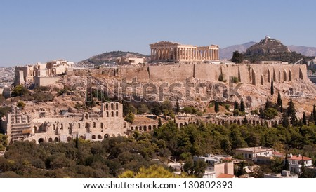 View of the Acropolis from the Filopappos hill in Athens, Greece. - stock photo