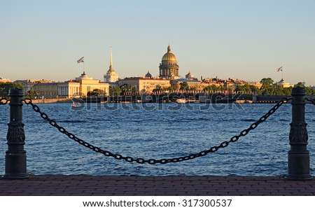 View of the Admiralty and St. Isaac's Cathedral with the hare island in St. Petersburg on a Sunny summer day. - stock photo