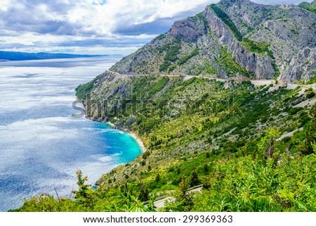 View of the Adriatic Sea coast and Omis and Makarska Riviera, in Dalmatia, Croatia - stock photo